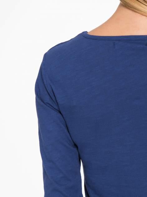 Granatowa basicowa bluzka z długim rękawem                                  zdj.                                  10