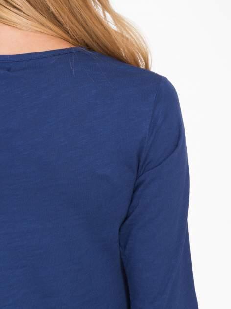 Granatowa basicowa bluzka z długim rękawem                                  zdj.                                  8