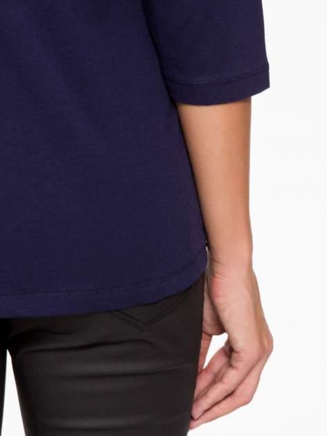 Granatowa basicowa bluzka z rękawem 3/4                                  zdj.                                  10