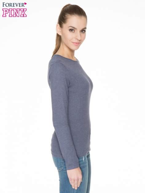 Granatowa bawełniana bluzka typu basic z długim rękawem                                  zdj.                                  3