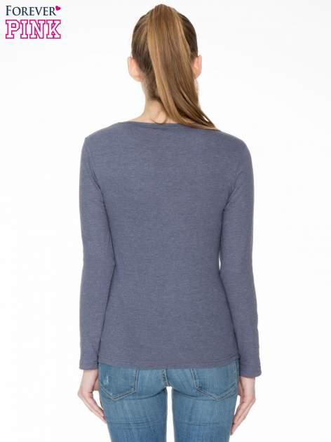 Granatowa bawełniana bluzka typu basic z długim rękawem                                  zdj.                                  4