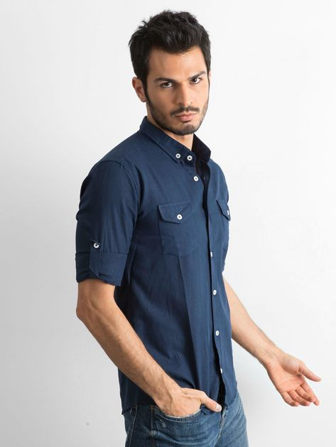 Granatowa bawełniana koszula męska                               zdj.                              3