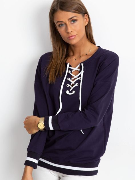 Granatowa bluza damska lace up                              zdj.                              1