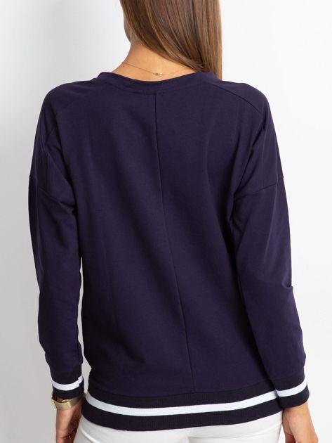 Granatowa bluza damska lace up                              zdj.                              2