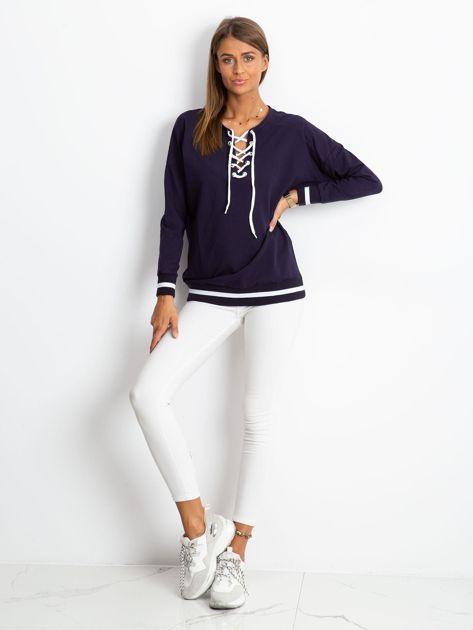 Granatowa bluza damska lace up                              zdj.                              4