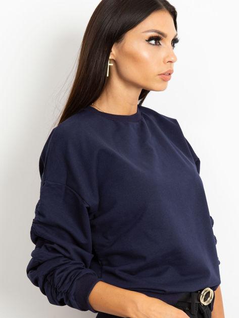 Granatowa bluza damska z marszczonymi rękawami                              zdj.                              3