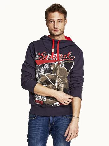 Granatowa bluza męska z kapturem z napisem SPEED                                  zdj.                                  1