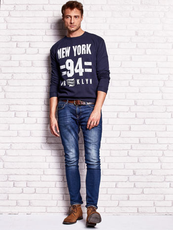 Granatowa bluza męska z napisem NEW YORK                                  zdj.                                  4