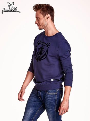 Granatowa bluza męska z niedźwiedziem                                  zdj.                                  4