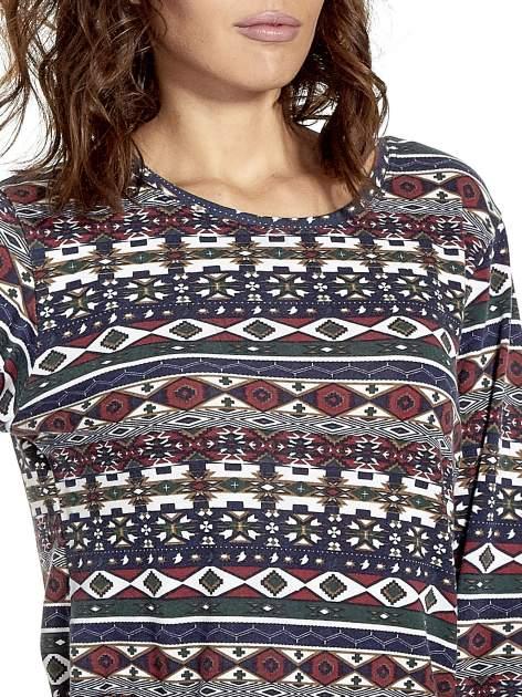 Granatowa bluza w azteckie wzory z koronką                                  zdj.                                  5