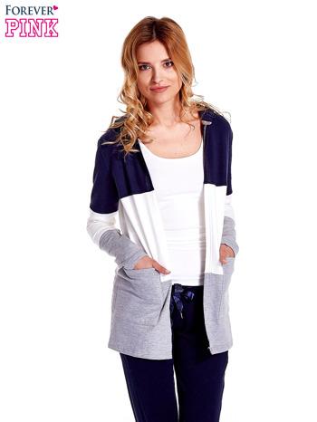 Granatowa bluza w szerokie kolorowe pasy                                  zdj.                                  5