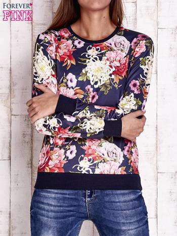 Granatowa bluza z kwiatowym motywem                                  zdj.                                  1
