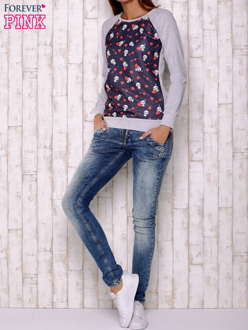 Granatowa bluza z nadrukiem pand                                  zdj.                                  4