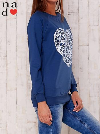 Granatowa bluza z nadrukiem serca                                  zdj.                                  2