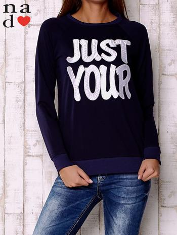 Granatowa bluza z napisem JUST YOUR