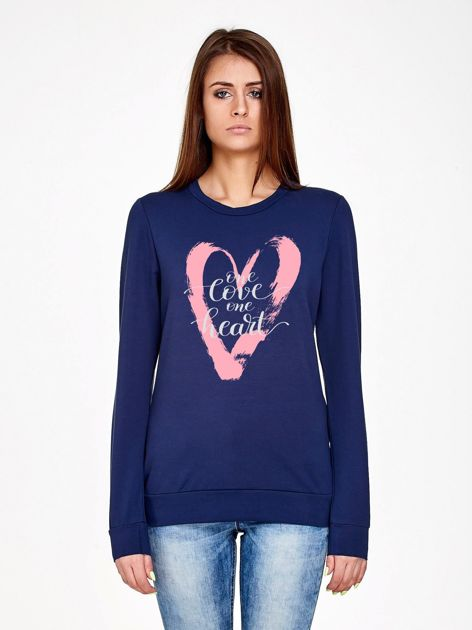 Granatowa bluza z napisem ONE LOVE ONE HEART