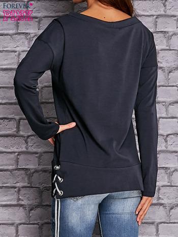 Granatowa bluza z wiązaniami                                  zdj.                                  4