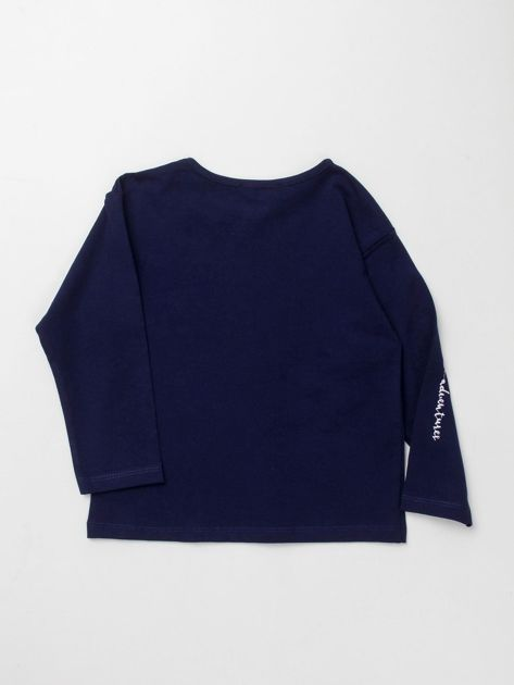 Granatowa bluzka dla dziewczynki z łabędziem                              zdj.                              2