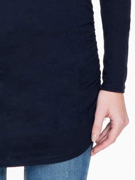 Granatowa bluzka tunika z marszczonym dołem                                  zdj.                                  6