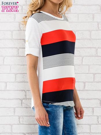 Granatowa bluzka z kolorowymi szerokimi pasami                                  zdj.                                  3
