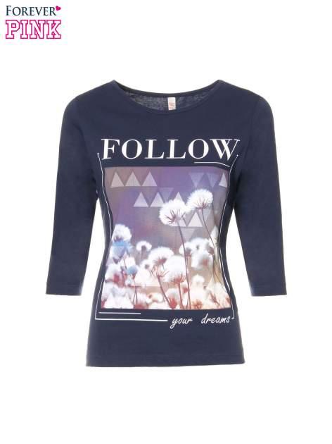 Granatowa bluzka z napisem FOLLOW YOUR DREAMS                                  zdj.                                  2