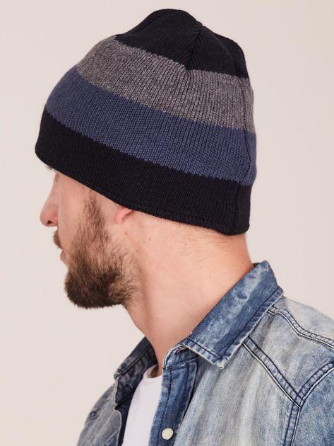Granatowa czapka męska w paski                              zdj.                              3