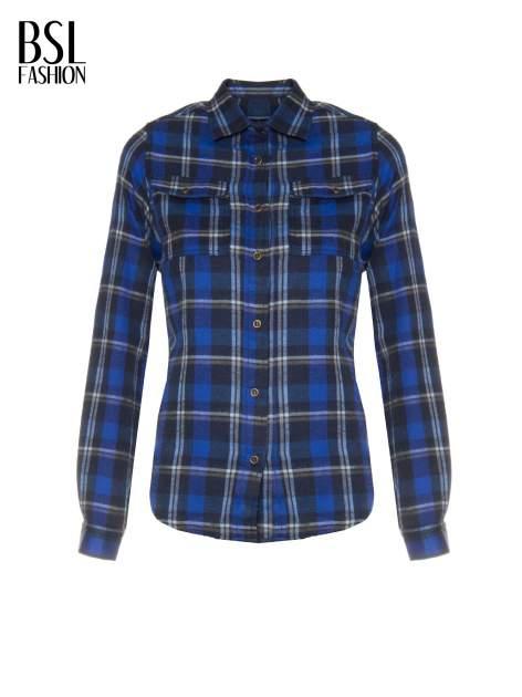 Granatowa damska koszula w kratę z kieszonkami                                  zdj.                                  2