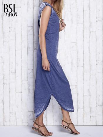 Granatowa długa sukienka acid wash                                   zdj.                                  3