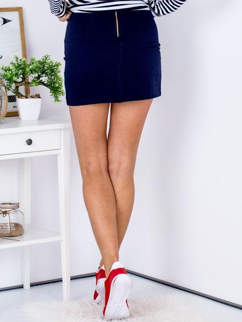 Granatowa dresowa spódnica mini                              zdj.                              2