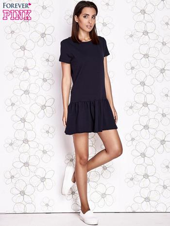Granatowa dresowa sukienka z wycięciem na plecach                                   zdj.                                  2