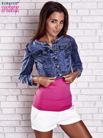 Granatowa jeansowa kurtka z kieszeniami i dekatyzacją                                  zdj.                                  5