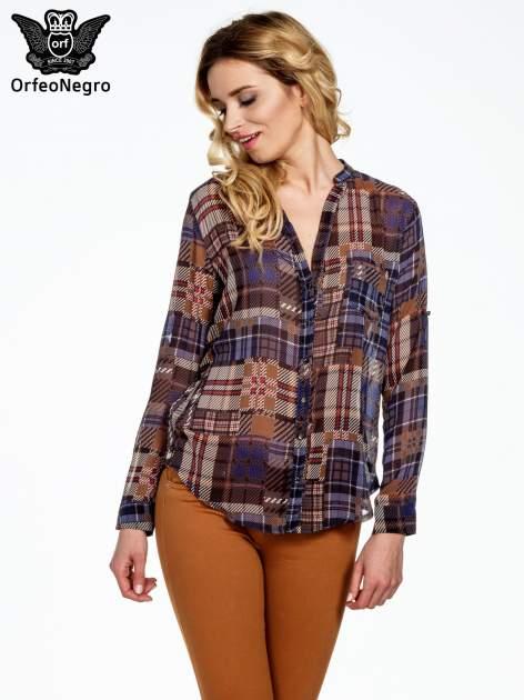 Granatowa koszula damska w kratę                                  zdj.                                  1