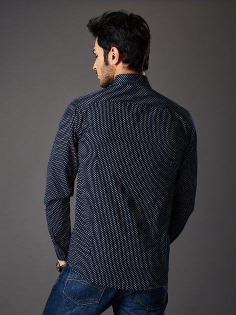 Granatowa koszula męska o klasycznym kroju we wzory                              zdj.                              2