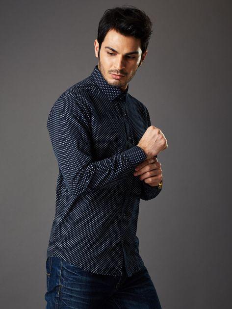 Granatowa koszula męska o klasycznym kroju we wzory                              zdj.                              6
