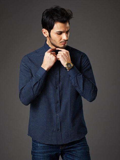 Granatowa koszula męska o prostym kroju w drobny wzór                              zdj.                              5