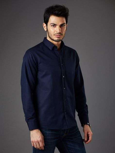 Granatowa koszula męska regular fit                              zdj.                              1