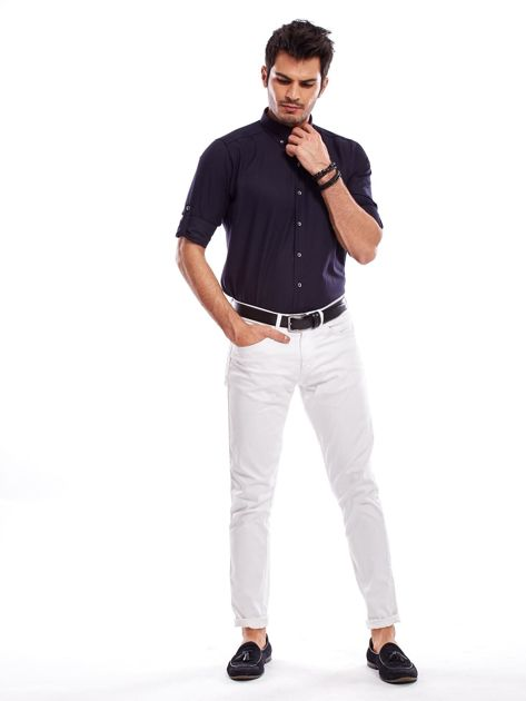 Granatowa koszula męska regular fit z podwijanymi rękawami                               zdj.                              4