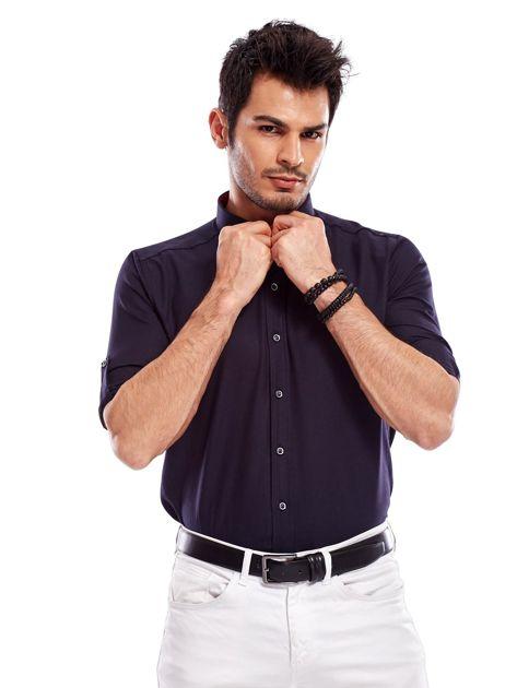 Granatowa koszula męska regular fit z podwijanymi rękawami                               zdj.                              7
