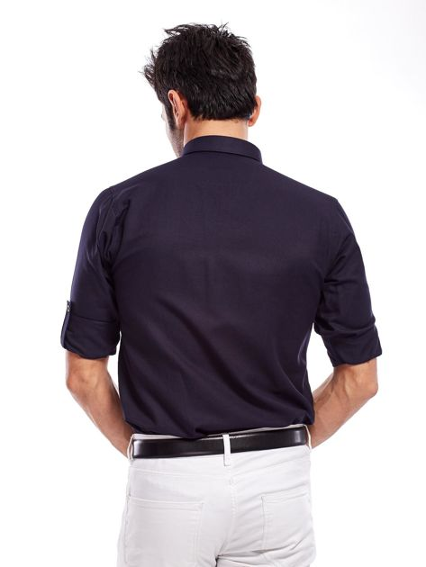 Granatowa koszula męska regular fit z podwijanymi rękawami                               zdj.                              2