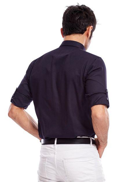 Granatowa koszula męska regular fit z podwijanymi rękawami                                   zdj.                                  8