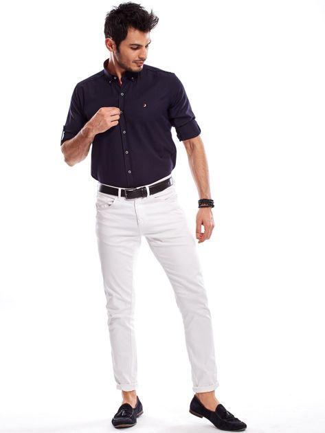 Granatowa koszula męska regular fit z podwijanymi rękawami                               zdj.                              10