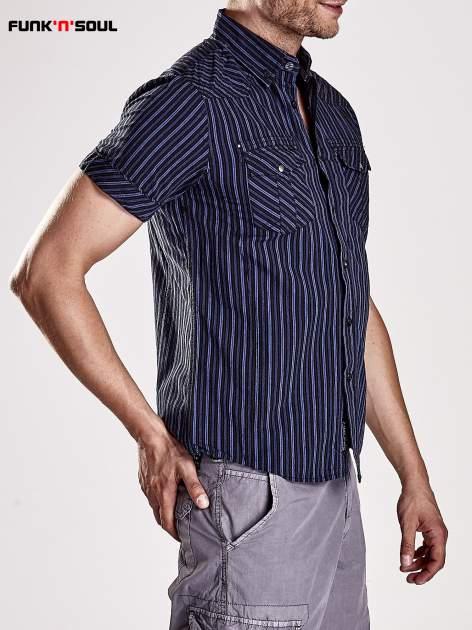 Granatowa koszula męska w drobne paski Funk n Soul                                  zdj.                                  4