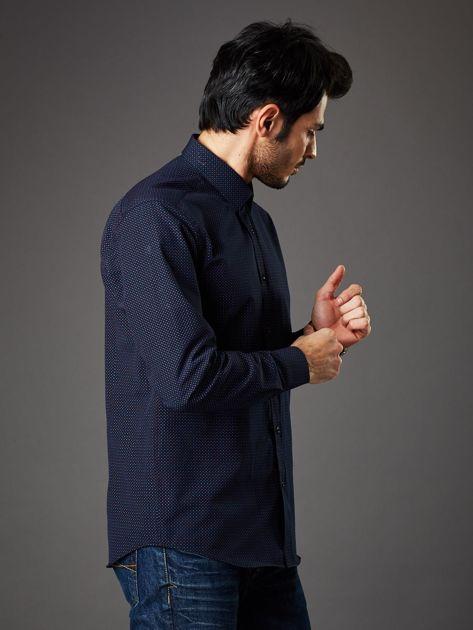 Granatowa koszula męska w kropki regular fit                              zdj.                              6