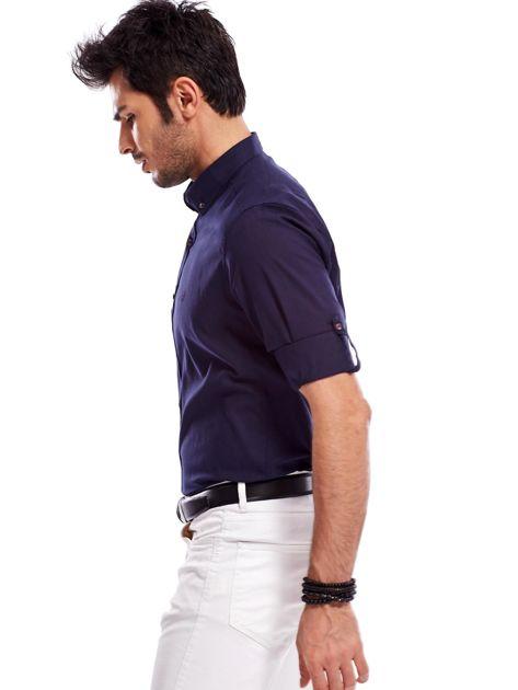 Granatowa koszula męska z podwijanymi rękawami                              zdj.                              8