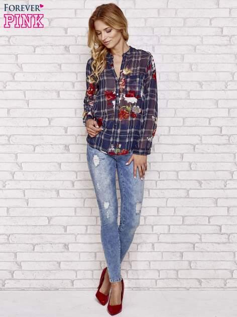 Granatowa koszula w kratę z kwiatami                                  zdj.                                  3