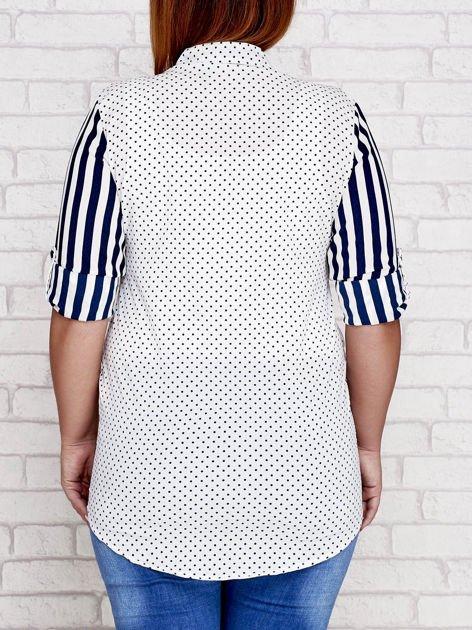 Granatowa koszula w paski i groszki PLUS SIZE