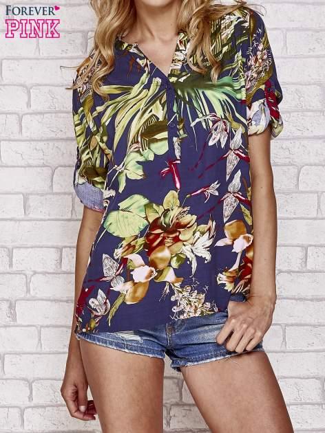 Granatowa koszula z kwiatowym nadrukiem                                  zdj.                                  1