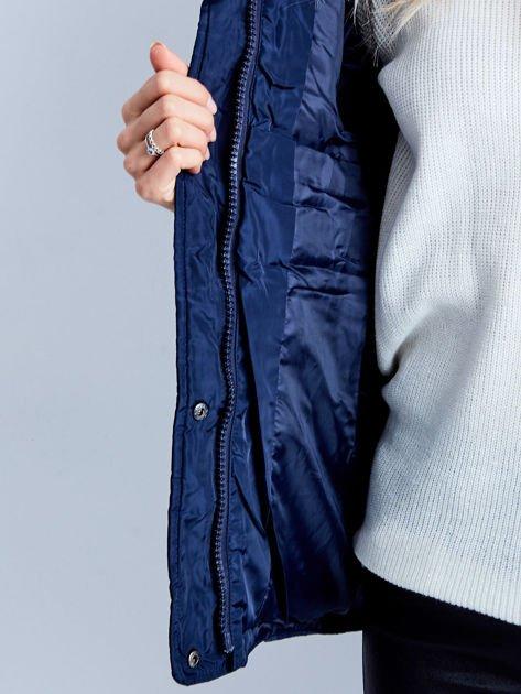 Granatowa kurtka zimowa pikowana                              zdj.                              8