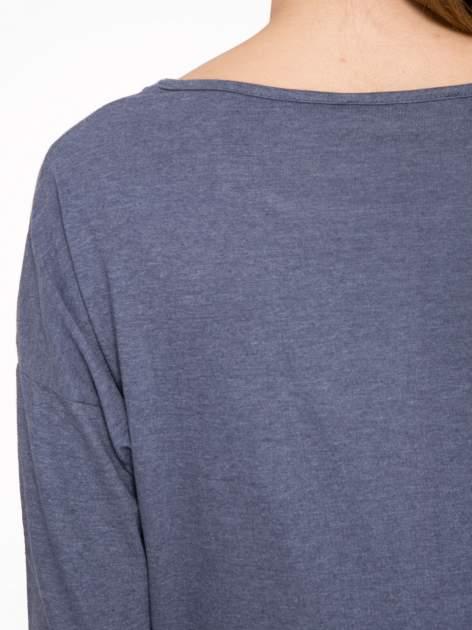 Granatowa luźna bluzka z rękawem 3/4                                  zdj.                                  8