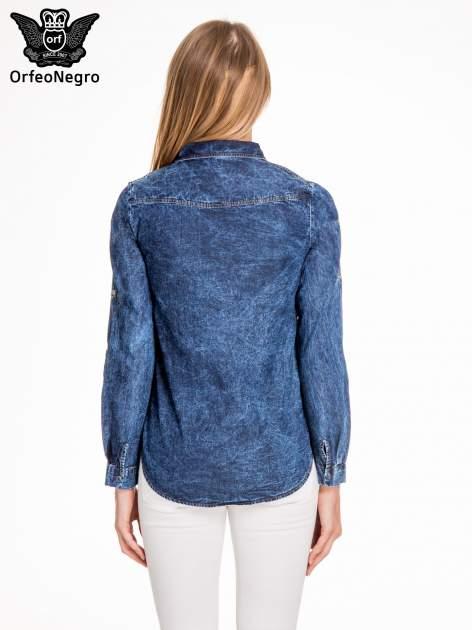 Granatowa marmurkowa koszula z jeansu                                  zdj.                                  4
